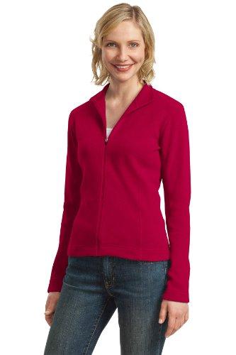 Port Authority Womens Flatback Rib Full Zip Jacket L221  True Red 3Xl