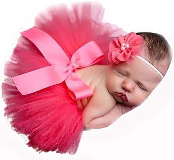 Rojo, recién Nacido bebé Tutu Ropa Falda Tocado Flor Fotografía ...