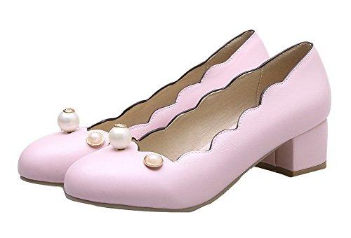 PU Solide Schuhe VogueZone009 Runde Zehe Rosa Pumps Geschlossene Low Pull Damen Heels On XqapX