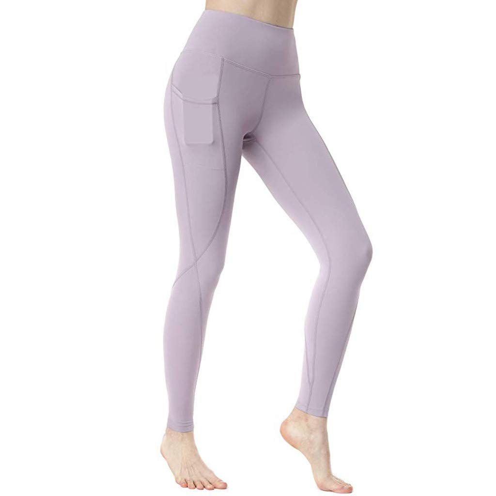 High Waist Yoga Pants for Women Side & Inner Pockets with Tummy Control Sports Leggings Purple