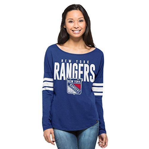 NHL New York Rangers Women's '47 Courtside Long Sleeve Tee, Booster Blue, - T-shirt Jersey Ranger