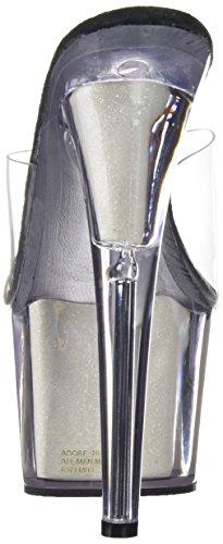 701ng Cassé Pleaser Blanc Ouvert Femme Bout Gltr clr neon Wht Bianco Sandales Adore 1C60qxw56