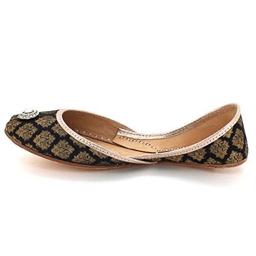 Toe AARZ Leather Bridal LONDON Closed Khussa Handmade Traditional Ethnic Diamante Pumps Women Size Slip Shoes On Indian Flat Ladies Black rCInwxpqCv