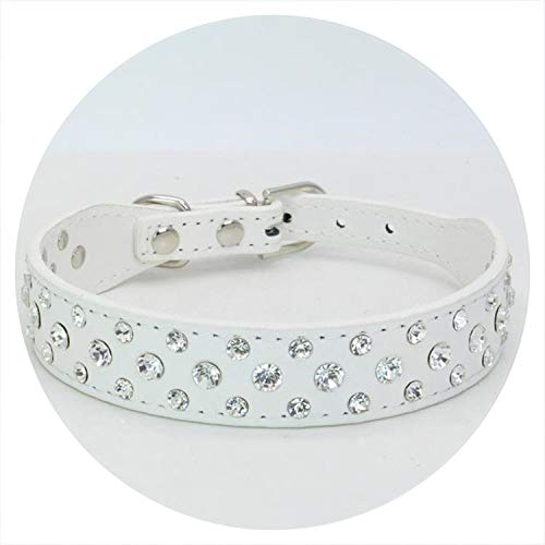 PG-One Small Cats Dogs Collars Rhinestone for Pet Accessories Puppy Necklace Chihuahua Supplies,White,XS