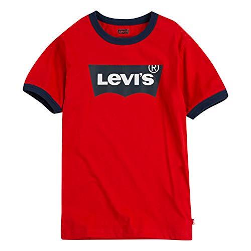 (Levi's Boys' Big Classic Batwing T-Shirt, Super red Ringer, M)