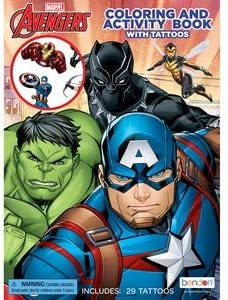 Bendon Publishing Avengers Coloring and Activity Book with Tattoos Pack of 2