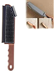 3 in 1 Multifunctional Cleaning Brush, Crevice Brush Scraper Brush Tiles Brush, Reusable Silicone Countertop Floor Window Cleaner Tool (Pink)