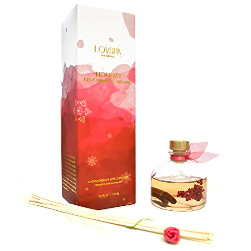 LOVSPA Holiday Spiced Red Currant & Woods Reed Diffuser Oil Gift Set | Red Currants, Pine, Cranberries, Cedar Wood & Juniper | Perfect Seasonal Home Fragrance! Made in The USA