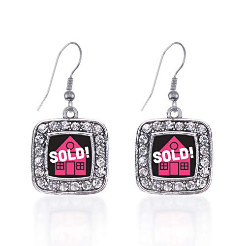 - Inspired Silver - Real Estate Agent Charm Earrings for Women - Silver Square Charm French Hook Drop Earrings with Cubic Zirconia Jewelry