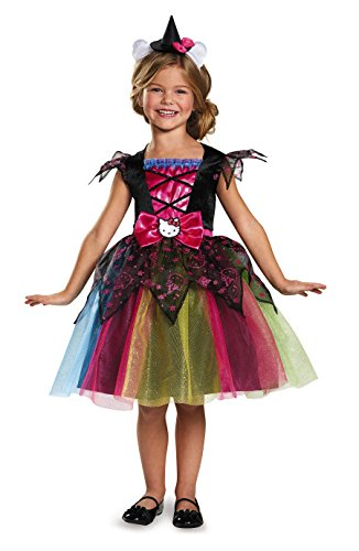 [Disguise Witch Deluxe Hello Kitty Sanrio Costume, X-Small/3T-4T] (Halloween Witch Costumes Kids)