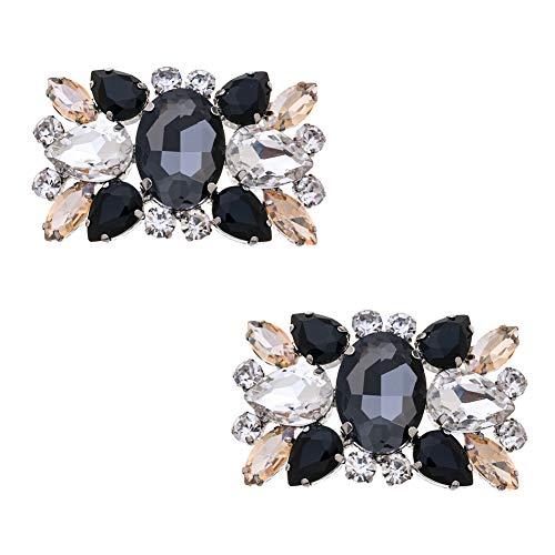 Douqu Fashion Rhinestones Crystal Shoe Clips Wedding Party Shoe Buckle Accessories Shoes Decoration for Women-2Pcs (Black)