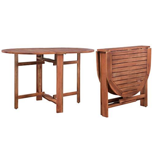 Festnight Mesa de Comedor Jardin Plegable Oval Madera Acacia Maciza, Marron 120 x 70 x 74 cm