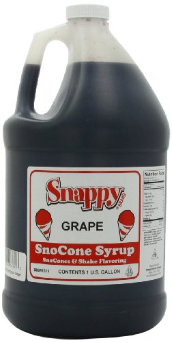 Snappy Popcorn Snappy Snow Cone Syrup 1 Gallon, Grape, (128 Fl Oz) - Grape Syrup