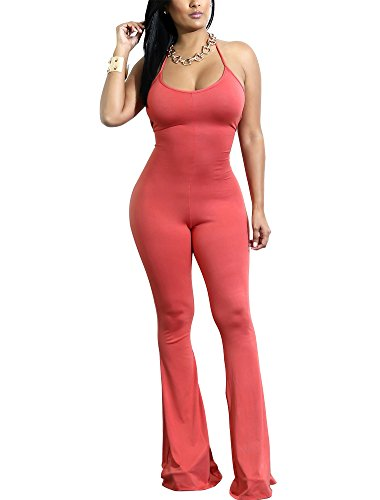 Dreamparis Women's Halter Neck Bodycon Jumpsuit Romper Sleeveless Backless Long Flare Pants Small Orange (Halter Jumpsuit Neck)