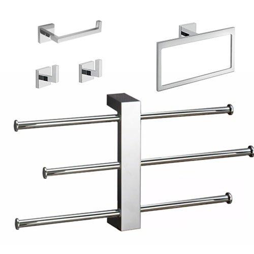 Gedy ELBA2500 Elba Modern Bathroom Accessories Set Chrome