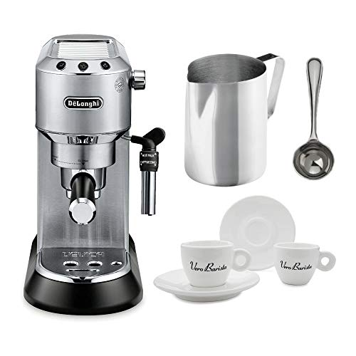 DeLonghi EC685M Dedica Deluxe Pump Espresso Machine, Silver Includes Frothing Pitcher, Coffee Spoon and 2 Espresso Cups Bundle ()
