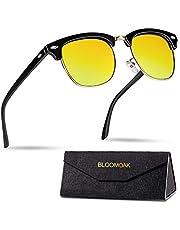 Bloomoak Nachtrijbril, gepolariseerde rijglazen Klassiek ontwerp   Semi-frame   Metalen klinknagels   UV400 bescherming voor vissen   Risicobeperking   Anti-schittering Driver Night Drive Glasses