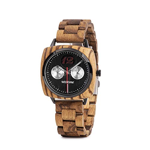 WOODME Wooden Watch for Men Women Date & Week Display Natural Wood Quartz Movement Square Case -
