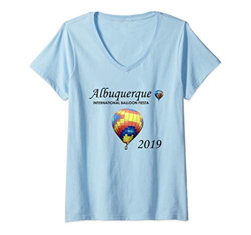 Womens Albuquerque Hot Air Balloon Fiesta 2019 Festival V-Neck T-Shirt