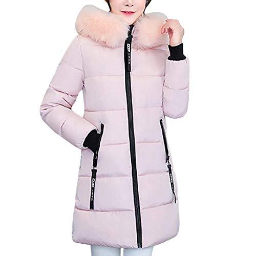 Rosa M Invierno De Larga Fit Invierno Mujer Manga Color Capucha Abrigo Pluma Parka Termica H Piel Size con Espesar Acolchado Plumas Largos Slim Rx0qBT