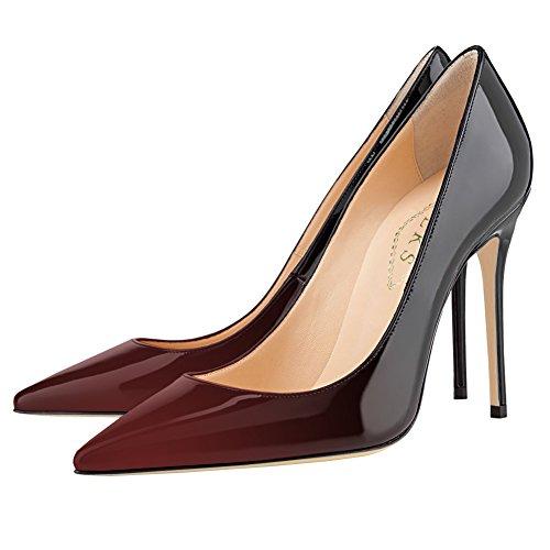 Verniciata Stiletto In vino Nero Pumps Dress A E Print Punta amp; Gradient Donna 10cm Pelle Eks gfwvg