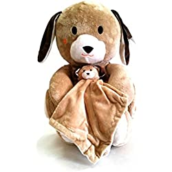Hug & Snug 3-Piece Dog Blanket Baby Bedding Gift Set Stuffed Toy and Security