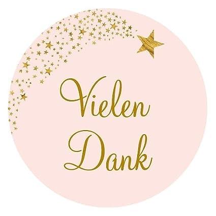 24 Vielen Dank Aufkleber Sticker Zum Danke Sagen Ideal Für Geburtstag Hochzeit Weihnachten 38 X 38 Cm Rosa Gold