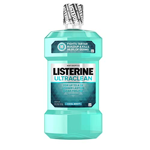 Listerine Ultraclean Oral Care Antiseptic Mouthwash with Everfresh Technology to Help Fight Bad Breath, Gingivitis, Plaque and Tartar, Cool Mint, 1 (Pack of 3)