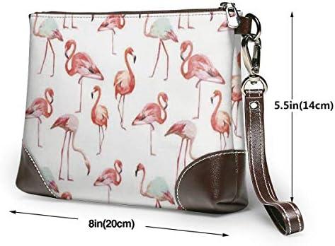 GLGFashion Sac à main en cuir pour femme Pink Flamingo Women's Leather Wristlet Clutch Purses Portable Makeup Cosmetic Bag Handbag Organizer Wallet With Zipper For Women Girls