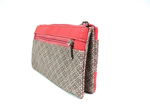 Damen Mädchen Retro Vintage Designer inspiriert Geldbörse Clutch Schultertasche Bag Koralle
