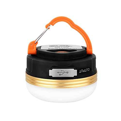Price comparison product image HiHiLL Camping Lights with USB Output, 200 Lumens, Rechargeable, Waterproof, 3W, 3 Modes, Magnetic Hanging Warm White Lantern Lights
