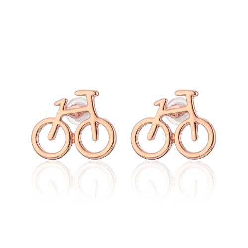 Stud Earring for Women,Bicycle Earring Stud Girl Silver Dangle Earring Small Stainless Steel Earring (Rose Gold Plated)