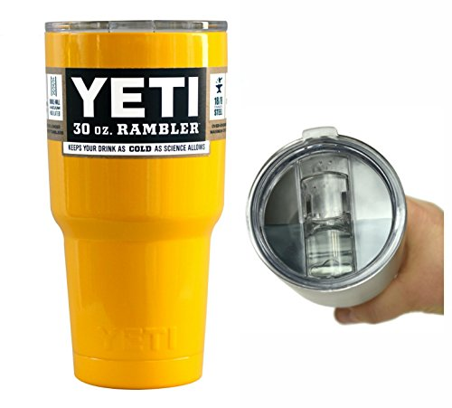YETI Coolers 30 Ounce (30 oz) (30oz) Stainless Steel Custom Rambler Tumbler Cup Mug with Exclusive Spill Proof and Resistant Lid (Yellow)