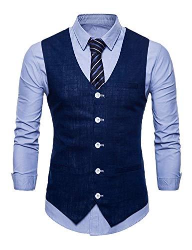 Navy Waistcoa Casual Blau Classique Gilet Mariage Veste Blazer Garçons Soirée Men Costume Slim Tuxedo De Fit 6r17xT6