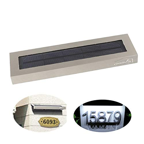 Solar Lights Outdoor for House Numbers - Outdoor Solar Light for Address Sign Plate - Wall Light for Home,Garden and Yard (Light House Number Solar)