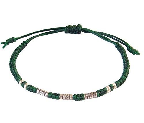 BUSABAN Asian Handmade Bracelet 925 Silver Feather Beads Green Wax String