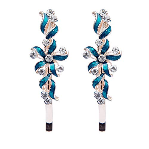 2pcs Exquisite Flower Crystal Rhinestone Barrette Hair Pin Hair Clip Headband (Color - Green) (Teardrop Laser Bead)