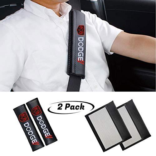 2Pcs Seat Belt Cover Shoulder Pad Shoulder Pads for Dodge All Models,Embroidered car Logo Black Leather Car Seat Safety Belt Strap -
