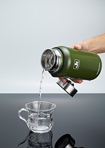 JK Wide Mouth Vacuum Insulated Stainless Steel Water Bottle (armygreen, 21oz)