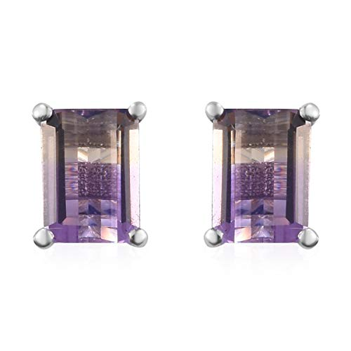 925 Sterling Silver Platinum Plated Octagon Ametrine Stud Solitaire Earrings Cttw 1.6