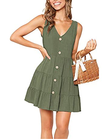 eb2c5105b8 YIBOCK Women's Summer Sleeveless V Neck Button Pleated Swing Mini Tank Dress