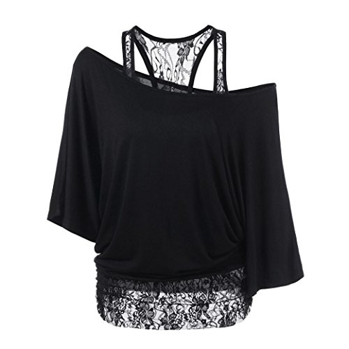 ❤️ Clearance Women Plus Size Stitching Bat Sleeve Loose Top Loose Casual Long Sleeve Tops Blouse Shirt Lace Duseedik from Duseedik TOP