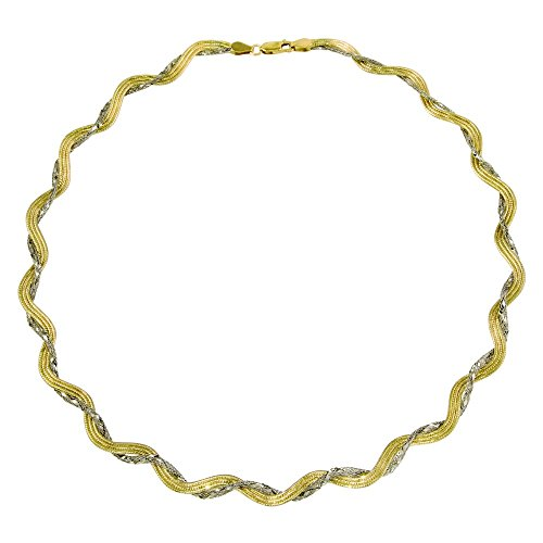Princess Kylie Gold-Tone and Rhodium Plated Sterling Silver Mesh and Omega Round Necklace