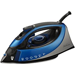 Sunbeam Turbo Steam 1500 Watt XL-size Anti-Drip Non-Stick Soleplate Iron with Shot of Steam/Vertical Shot feature and 10' 360-degree Swivel Cord, Grey/Blue, GCSBCS-200-000