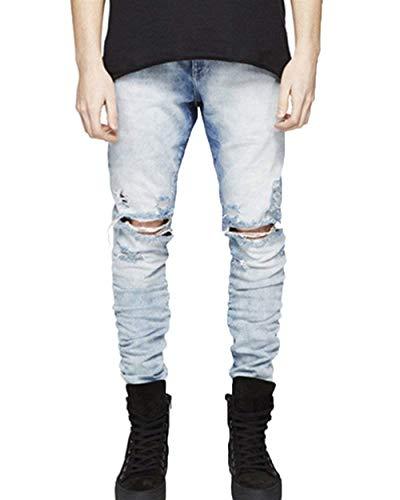 Tempo Slim Hellblau Comodo Denim Skinny Fit Retrò Uomo Strappati Libero Moda Pantaloni Jeans Battercake Da B6ZxqwPCEn