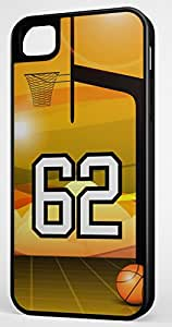 Basketball Sports Fan Player Number 62 Black Rubber Hybrid Tough Case Decorative iPhone 5/5s Case
