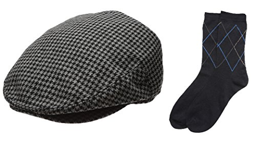 Men's Collection Wool Blend Herringbone Tweed Newsboy Ivy Hat with Dress Socks.(2091,SMALL)