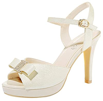 T&Mates Womens Fashion Cute Bowknot Peep Toe Buckle Ankle Strap Stilettos Heel Sandals