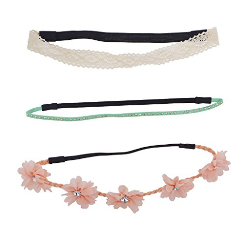 Lux Accessories Crochet Suede Studded Flower Rhinestone Headband Set -