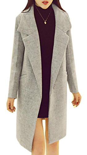 Domple Women's Slim Fit Lapel Buttons Solid Wool Blend Coat Elegant Jacket 3 S
